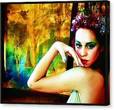 Canvas Print featuring the digital art Afternoon Of A Wood Nymph by Mary Morawska