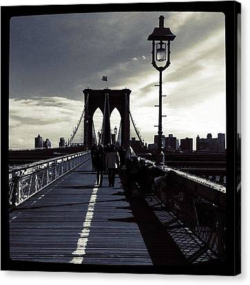 Cities Canvas Print - Afternoon On The Brooklyn Bridge by Luke Kingma