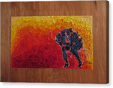 Canvas Print featuring the painting Agony Doubled Over In Flames On Wood Panel by M Zimmerman