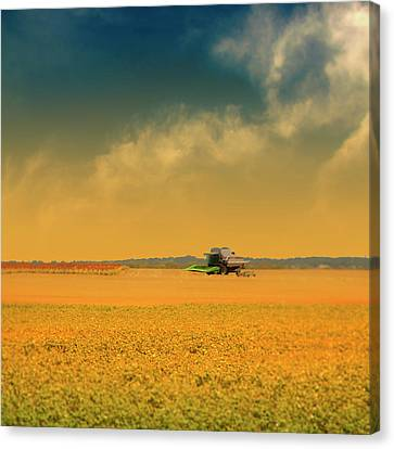 Agricultural Landscape At Sunrise Canvas Print by Photo by Jim Norris