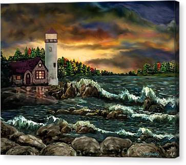 Ah-001-015 David's Point Lighthouse  - Ave Hurley Canvas Print by Ave Hurley