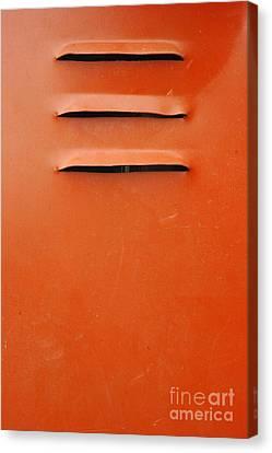 Metallic Sheets Canvas Print - Air Holes In The Orange Iron Wall by Antoni Halim