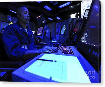 Air Traffic Controller Stands Watch Canvas Print by Stocktrek Images