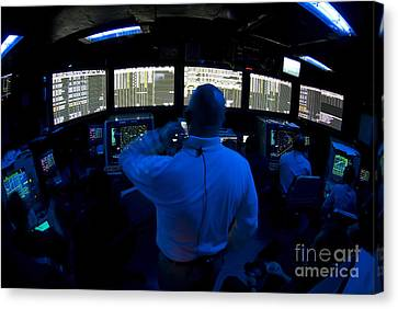 Air Traffic Controller Watches Canvas Print by Stocktrek Images