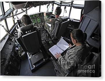 Aircrew Perform Preflight Checklists Canvas Print by Stocktrek Images