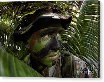 Airman Conceals Himself By Blending Canvas Print by Stocktrek Images