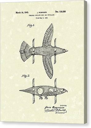 Bizarre Canvas Print - Airplane Bird Body Design 1943 Patent Art by Prior Art Design