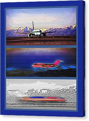 Airport - Airline Triptych Canvas Print by Steve Ohlsen