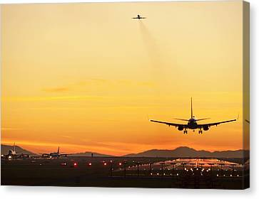 Jet Set Canvas Print - Airport At Sunset by David Nunuk