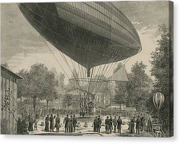 Airship Powered By An Electric Motor Canvas Print by Everett