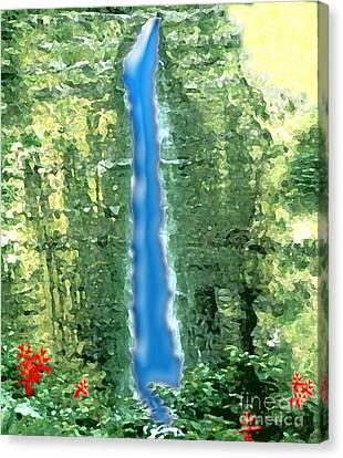 Canvas Print featuring the digital art Akaka Falls by Karen Nicholson