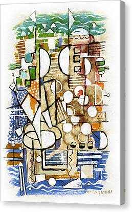 Akko Port Landscape Abstract Blue Green Ocean Water Sun Sky Brown Yellow Colorful City Beach Light Canvas Print by Rachel Hershkovitz
