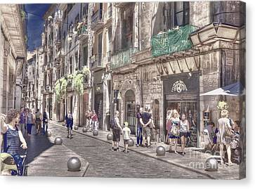 Canvas Print featuring the photograph Al Fresco - Girona Spain by Jack Torcello
