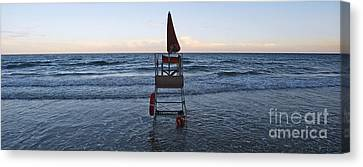 Canvas Print featuring the photograph Alassio Sunset Facing East by Andy Prendy