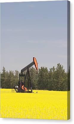Alberta, Canada Pump Jack In A Canvas Print by Michael Interisano