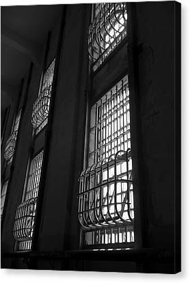 Alcatraz Federal Penitentiary Cell House Barred Windows Canvas Print by Daniel Hagerman
