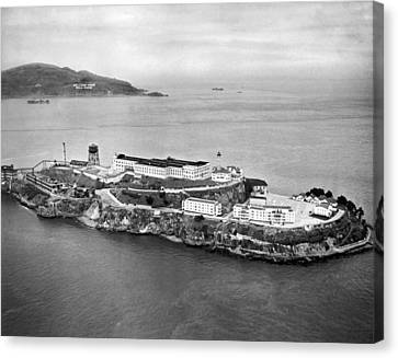 Alcatraz Island And Prison Canvas Print by Underwood Archives