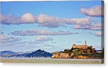 Sailboat Ocean Canvas Print - Alcatraz Island by Patricia Stalter