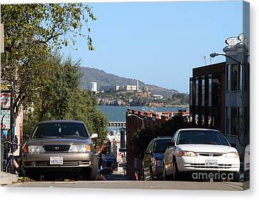 Alcatraz Island Through The Hyde Street Pier In San Francisco California . 7d13973 Canvas Print by Wingsdomain Art and Photography