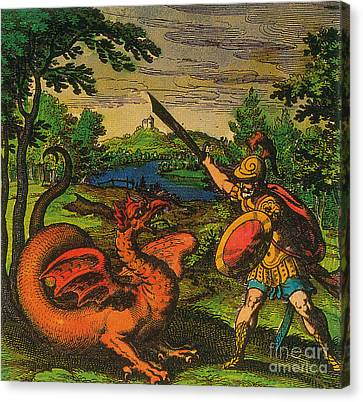 Alchemical Knight Slays The Primordial Canvas Print