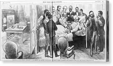 Alexander Graham Bell Using Canvas Print by Everett