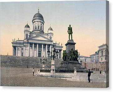 Alexander II Memorial At Senate Square In Helsinki Finland Canvas Print by International  Images
