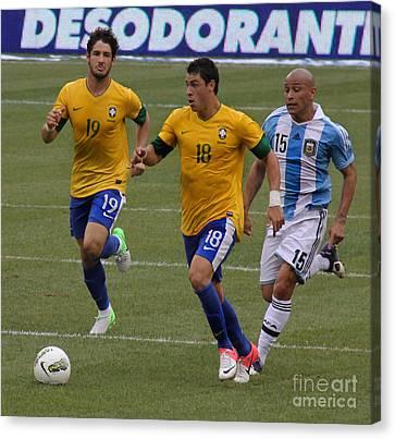 Neymar Junior Canvas Print - Alexandre Pato Running by Lee Dos Santos