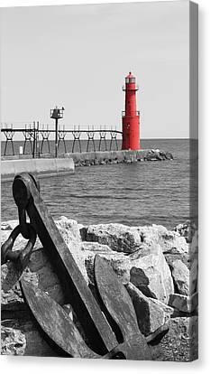 Algoma Lighthouse Is Anchored Canvas Print by Mark J Seefeldt