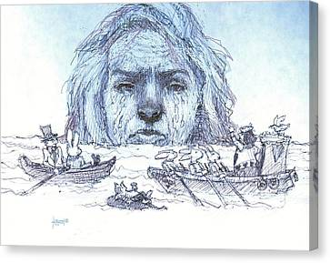 Alice Cries Me A Flood Canvas Print by Herb Russel