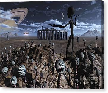 Alien Explorers On An Alien World Canvas Print by Mark Stevenson