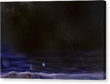 Alien Night Sky, Artwork Canvas Print by Claus Lunau