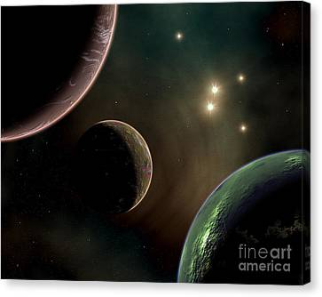 Alien Worlds That Orbit Different Types Canvas Print by Mark Stevenson