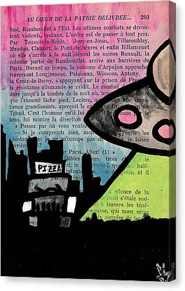Aliens Love Pizza Canvas Print by Jera Sky