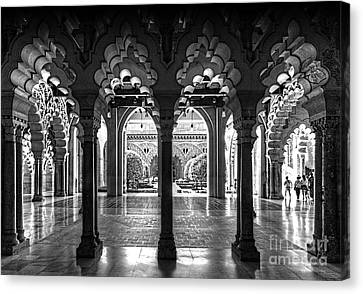 Aljaferia Palace I Bw Canvas Print by Jack Torcello