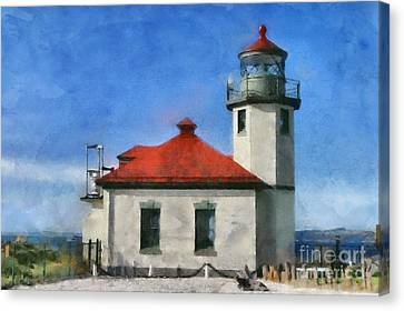 Alki Point Lighthouse In Seattle Washington Canvas Print by Mary Warner