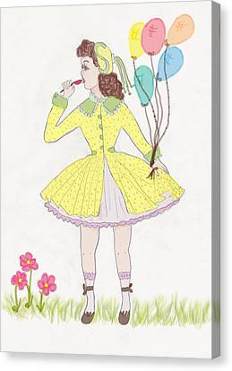 Balloon Flower Canvas Print - All Dressed Up by Rosalie Scanlon
