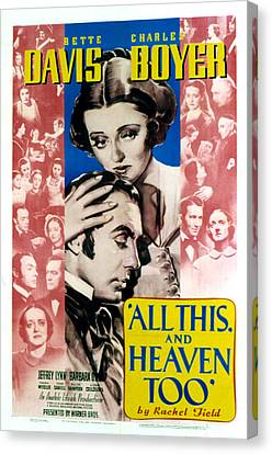 All This And Heaven Too, Bette Davis Canvas Print by Everett