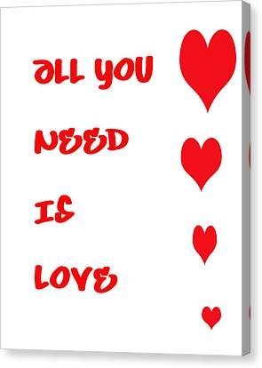 All You Need Is Love Canvas Print by Georgia Fowler