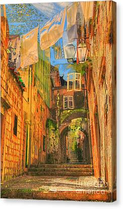 Alley In Croatia Canvas Print by Alberta Brown Buller