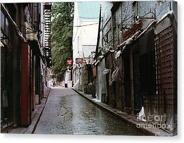 Alley In Old Quebec Canvas Print by Cedric Hampton