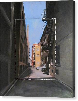 Alley With Red And Tan Buildings Layered Canvas Print by Anita Burgermeister