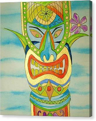 Canvas Print featuring the painting Aloha Tiki by Erika Swartzkopf