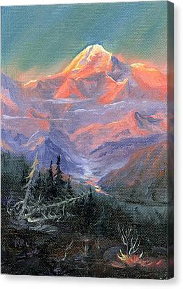 Canvas Print featuring the painting Alpen Glow by Kurt Jacobson