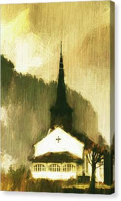 Canvas Print featuring the digital art Alpine Church by Andrea Barbieri