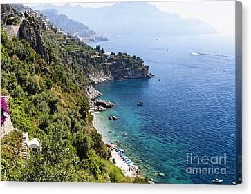 Amalfi Coast At Conca Dei Marini Canvas Print by George Oze