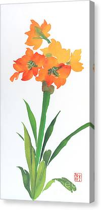 Canvas Print featuring the painting Amaryllis by Yolanda Koh