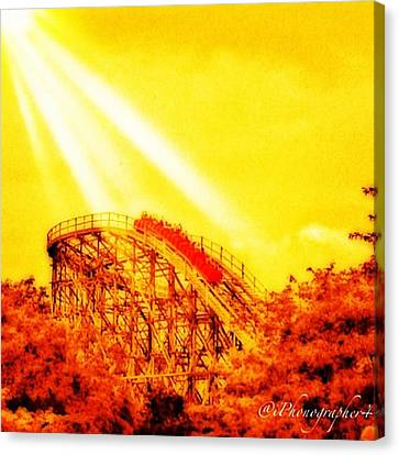 #amazing Shot Of A #rollercoaster At Canvas Print by Pete Michaud