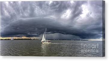 Amazing Storm Clouds And Sailboat Charleston Sc Canvas Print by Dustin K Ryan