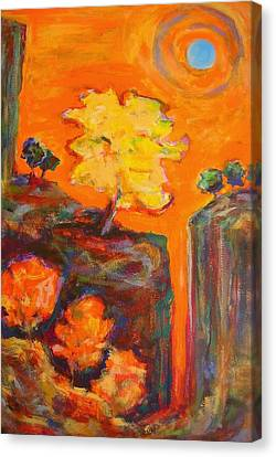 Amber Sky Blue Sun Canvas Print by Mary Schiros