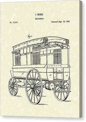 Ambulance Moses 1858 Patent Art Canvas Print